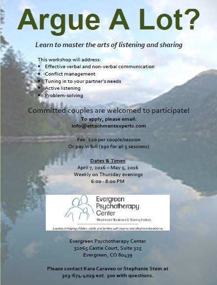 Evergreen hosting Couples Communication Group in April